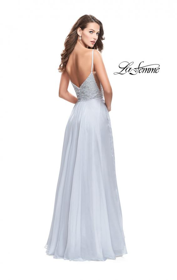 Picture of: A-line Chiffon Prom Gown with Pearl Beaded Bodice in Silver, Style: 26278, Back Picture