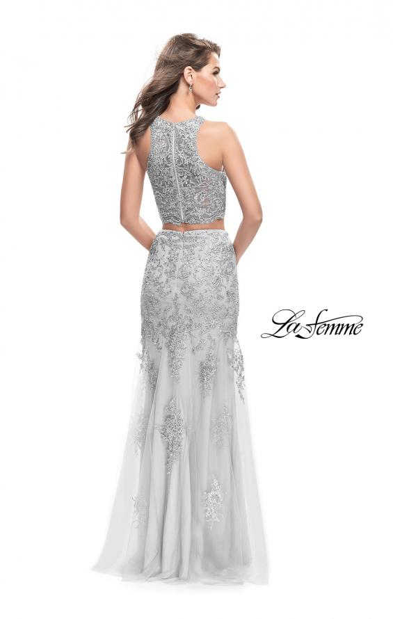 Picture of: Beaded Lace Two Piece Prom Dress with High Neckline in Silver, Style: 26294, Back Picture