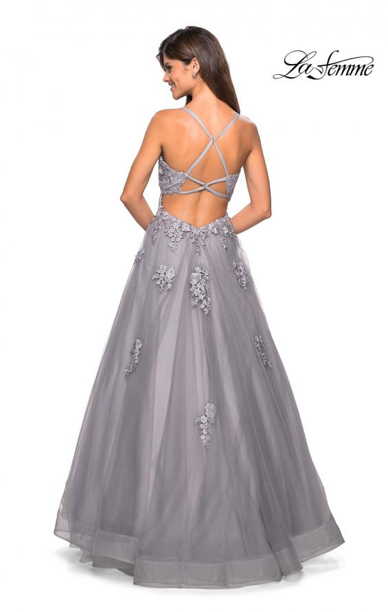 Picture of: Floor Length Tulle Ball Gown with Lace Accents, Style: 27441, Back Picture