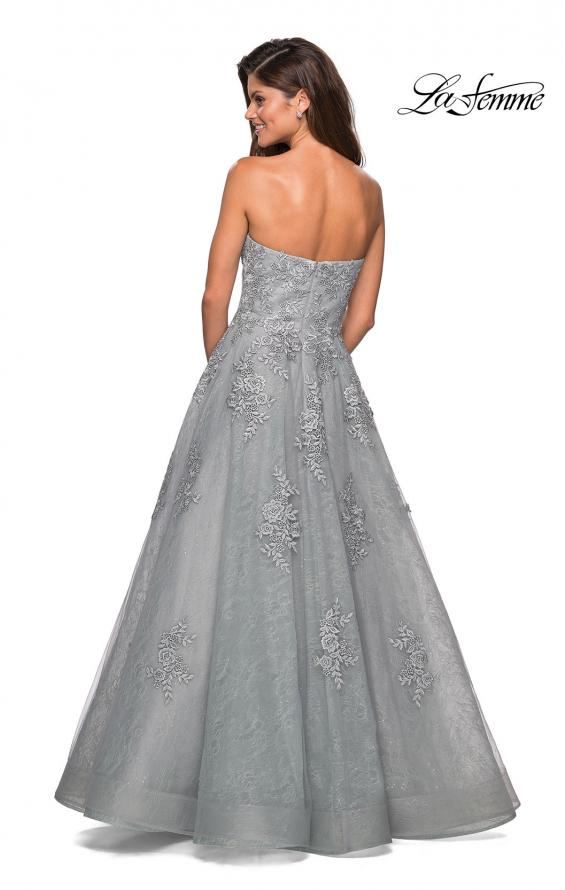 Picture of: Strapless Sweetheart Ball Gown with Lace Details in Silver, Style: 27493, Back Picture