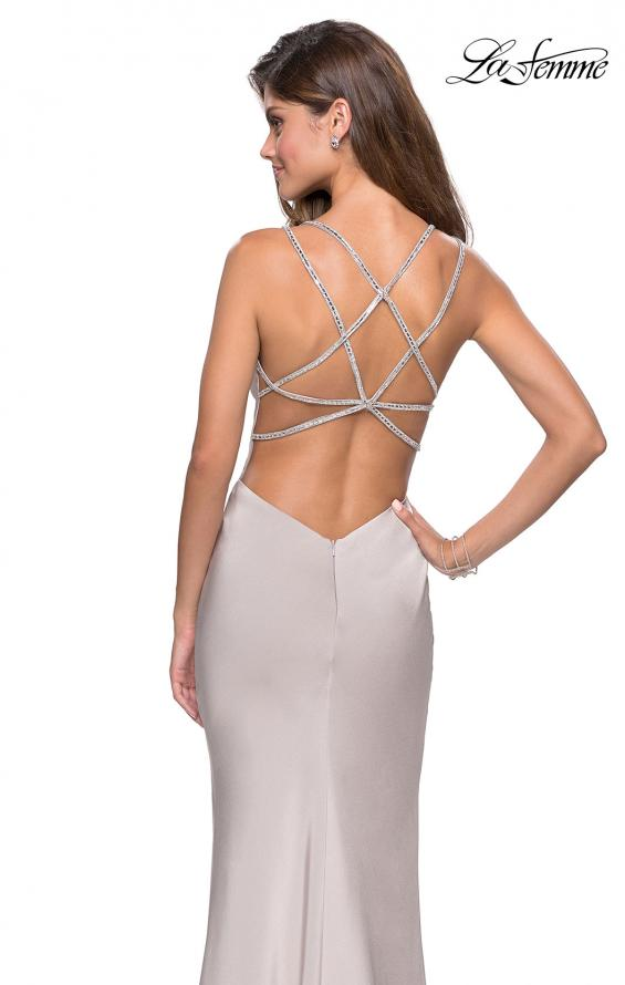 Picture of: Form Fitting Prom Dress with Slit and Beaded Straps in Silver, Style: 27519, Back Picture