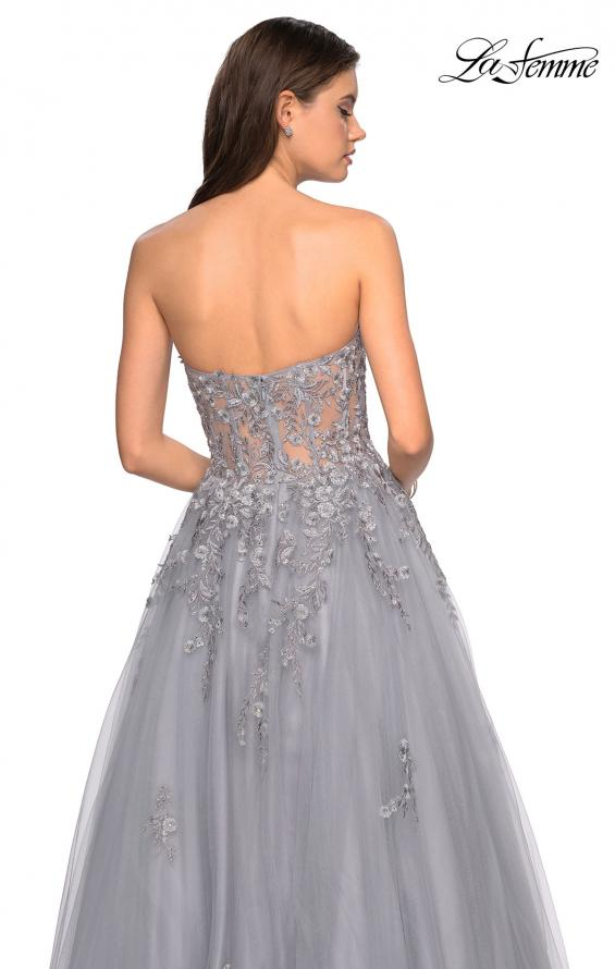 Picture of: Strapless Tulle Gown with Corset Bodice and Lace Detail in Silver, Style: 27592, Back Picture