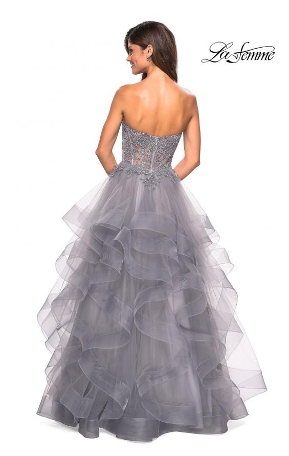 Picture of: Strapless Tulle Prom Gown with Lace Embellishments in Silver, Style: 27620, Back Picture