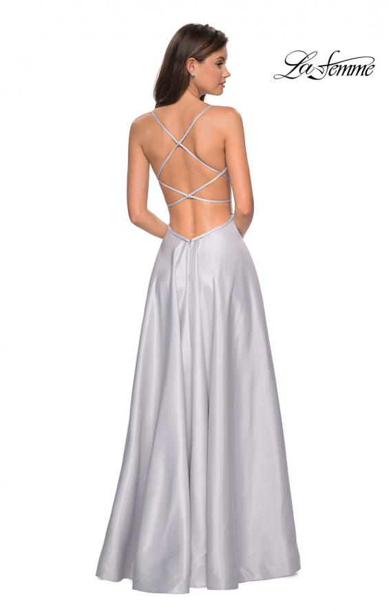 Picture of: Long Mikado Gown with Rhinestone Bodice and Slit in Silver, Style: 27634, Back Picture