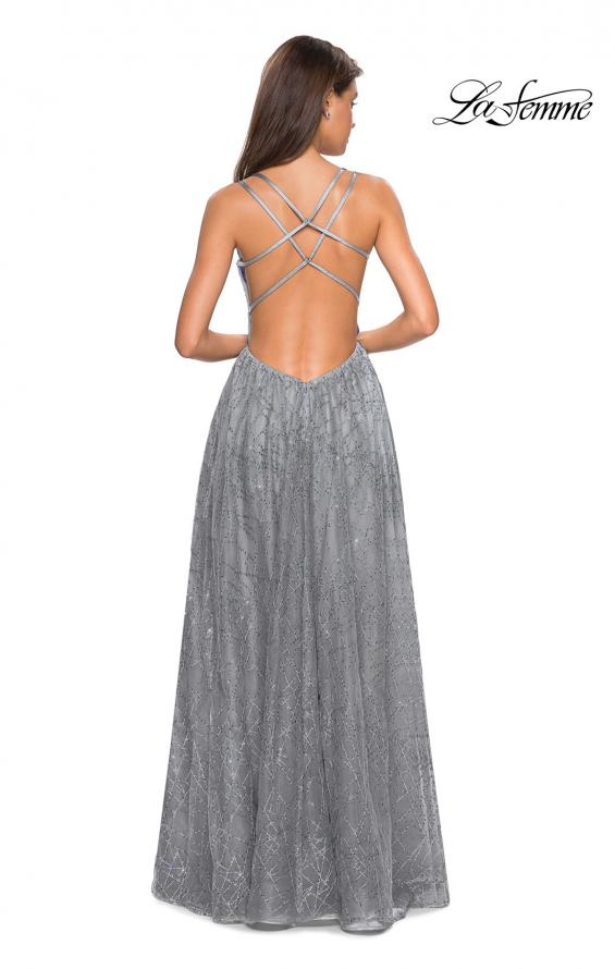 Picture of: Printed Sequin Dress with High Slit and Open Back in Silver, Style: 27715, Back Picture