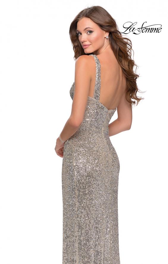 Picture of: Long Sequin One Shoulder Ruched Prom Dress in Silver, Style: 28401, Back Picture