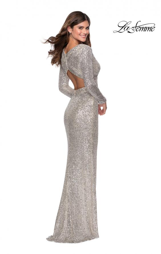 Picture of: Long Sleeve Sequin Gown with Open Back Detail in Silver, Style: 28743, Back Picture