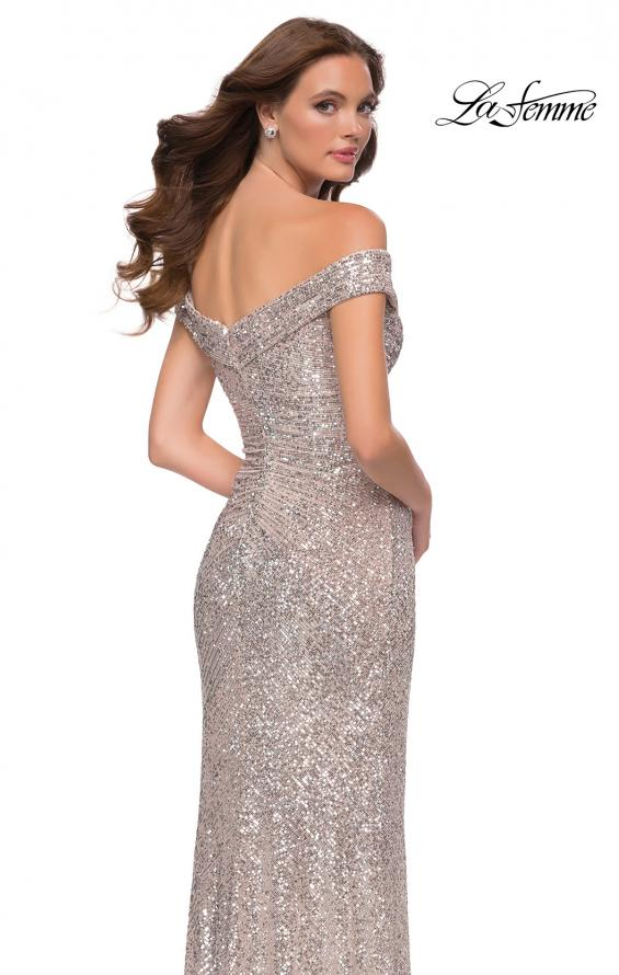 Picture of: Off the Shoulder Ruched Sequin Dress with Slit in Silver, Style 29831, Back Picture