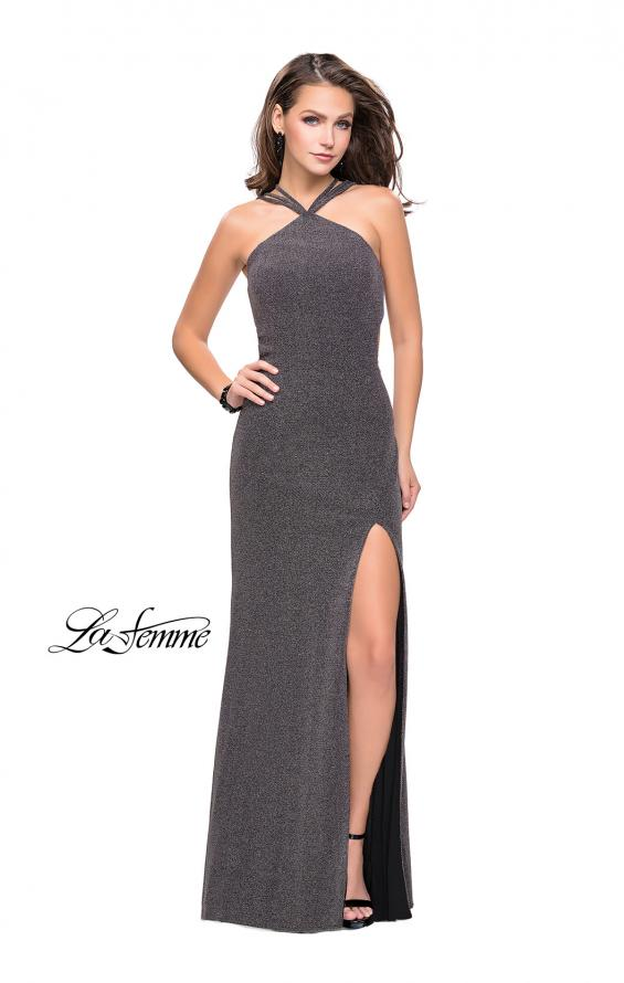 Picture of: Long Sparkly Dress with High Neckline and Side Slit in Silver, Style: 25346, Detail Picture 1