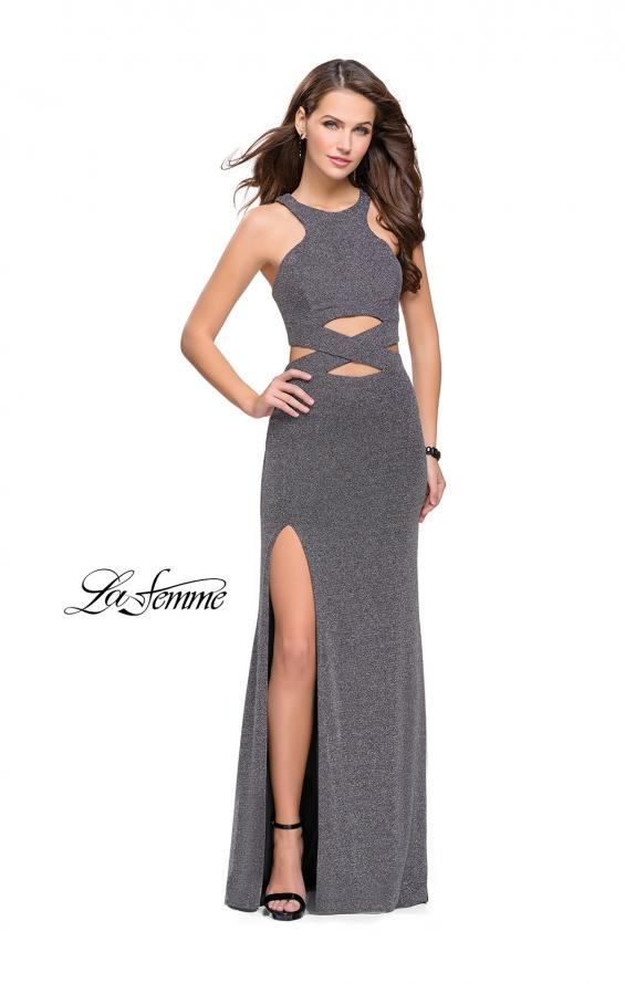 Picture of: Long Jersey Prom Dress with Cut Outs and Low Scoop Back, Style: 25422, Detail Picture 1
