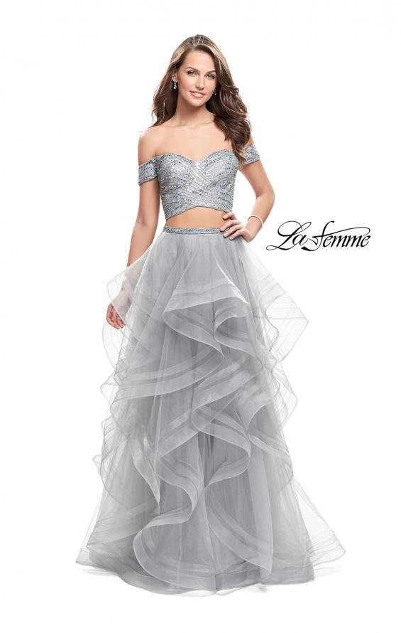 Picture of: Off the Shoulder A-line Gown with Ruffle Tulle Skirt in Silver, Style: 26169, Detail Picture 1
