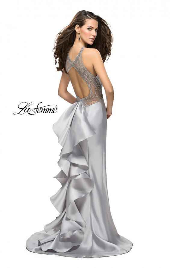 Picture of: Mikado Mermaid Dress with High Neck and Beading in Silver, Style: 26181, Detail Picture 1
