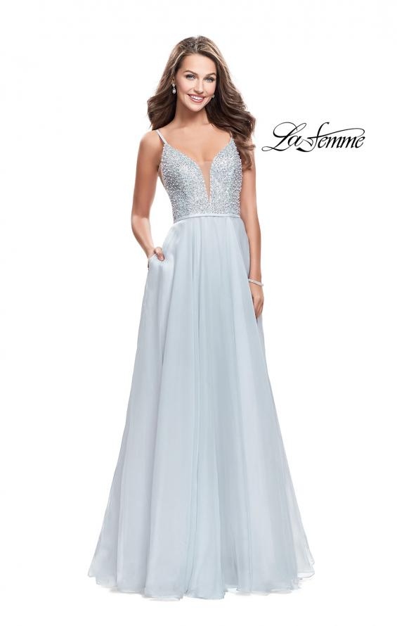 Picture of: A-line Chiffon Prom Gown with Pearl Beaded Bodice in Silver, Style: 26278, Detail Picture 1