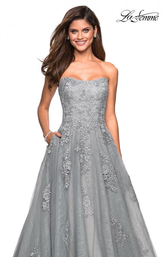 Picture of: Strapless Sweetheart Ball Gown with Lace Details in Silver, Style: 27493, Detail Picture 1
