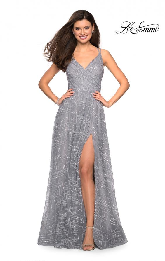 Picture of: Printed Sequin Dress with High Slit and Open Back in Silver, Style: 27715, Detail Picture 1