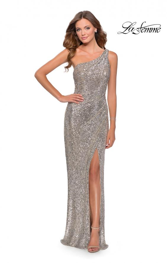 Picture of: Long Sequin One Shoulder Ruched Prom Dress in Silver, Style: 28401, Detail Picture 1