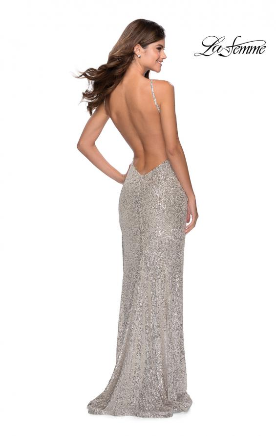 Picture of: HIgh Neck Sequin Gown with Open Back and Slit in Silver, Style: 28529, Detail Picture 1