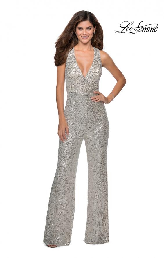 Picture of: Long Sequin Jumpsuit with Criss Cross Back in Silver, Style: 28719, Detail Picture 1