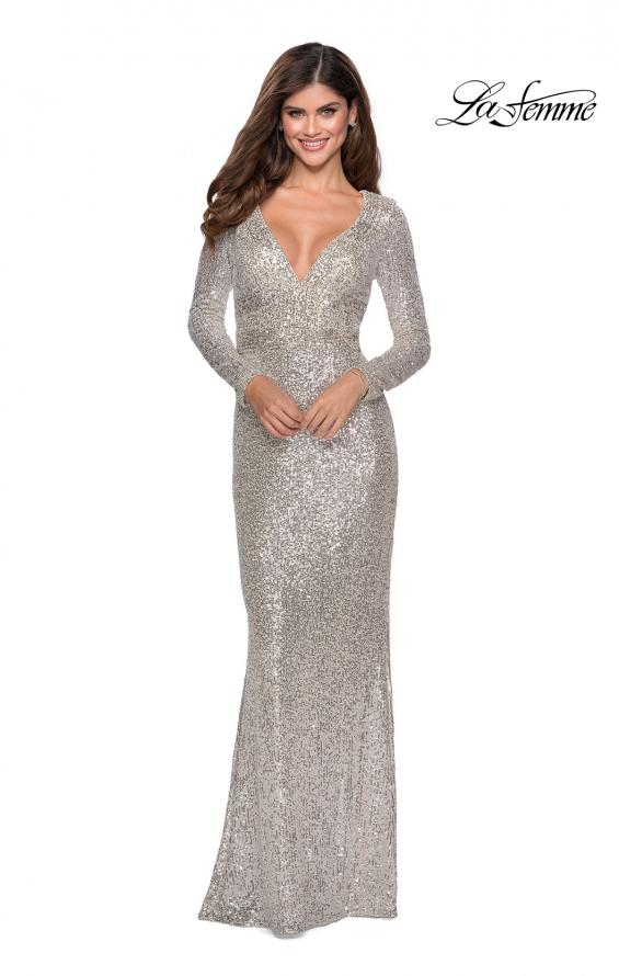 Picture of: Long Sleeve Sequin Gown with Open Back Detail in SIlver, Style: 28743, Detail Picture 1
