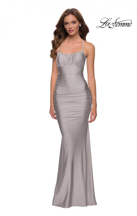 Picture of: On Trend Jersey Long Dress with Ruching on Bodice in Silver, Style 29873, Detail Picture 1