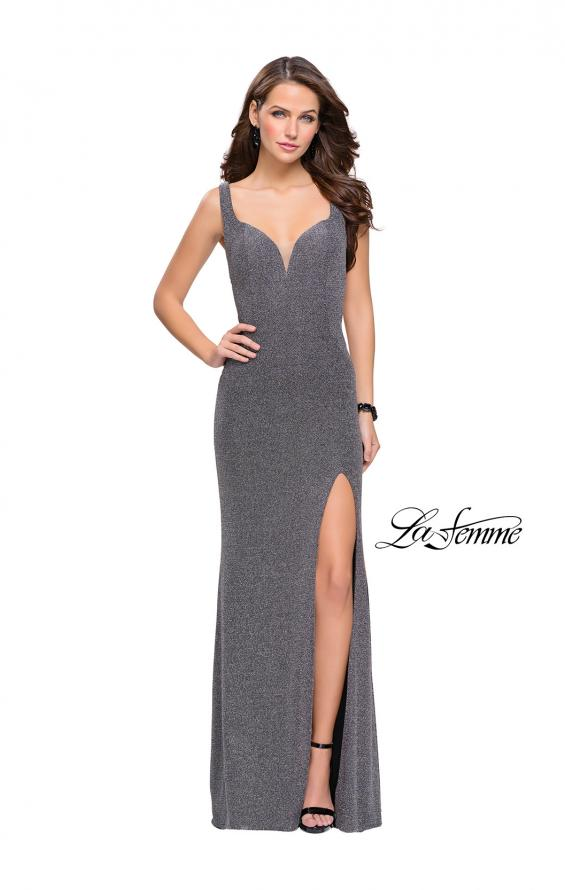 Picture of: Sparkly Jersey Prom Dress with Cut Outs and Side Leg Slit, Style: 25215, Detail Picture 2