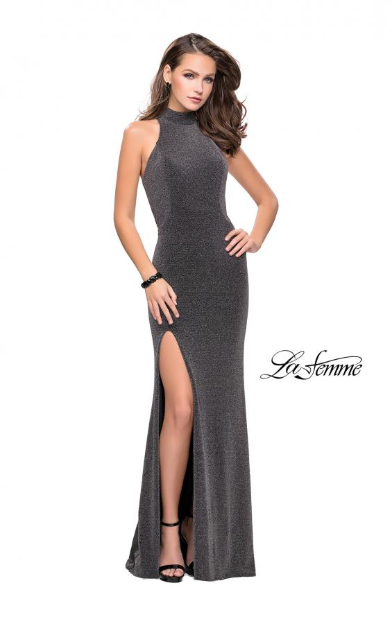 Picture of: Sparkly Jersey Long Dress with High Neckline and Front Slit in SIlver, Style: 25404, Detail Picture 2