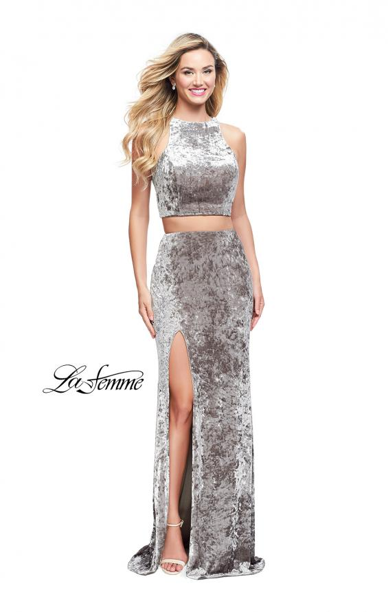 Picture of: Crush Velvet Two Piece Prom Dress with Slit in Silver, Style: 25431, Detail Picture 2