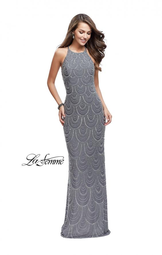 Picture of: Long Scalloped Beaded Prom Dress with High Neck in Silver, Style: 26030, Detail Picture 2