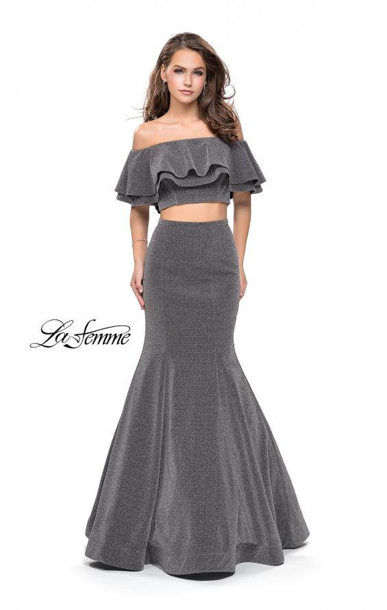 Picture of: Long Sparkling Off the Shoulder Jersey Prom Dress in Silver, Style: 26324, Detail Picture 2