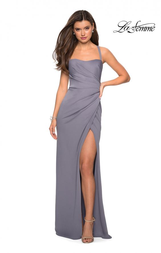 Picture of: Long Jersey Gown with Size Ruching and Slit in SIlver, Style: 27470, Detail Picture 2