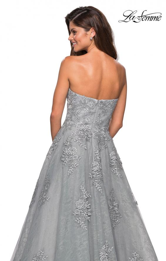 Picture of: Strapless Sweetheart Ball Gown with Lace Details in Silver, Style: 27493, Detail Picture 2