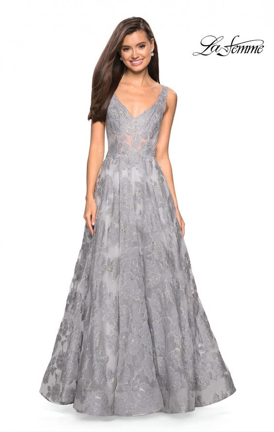 Picture of: Floral A Line Dress with Sheer Bodice and V Back in Silver, Style: 27505, Detail Picture 2