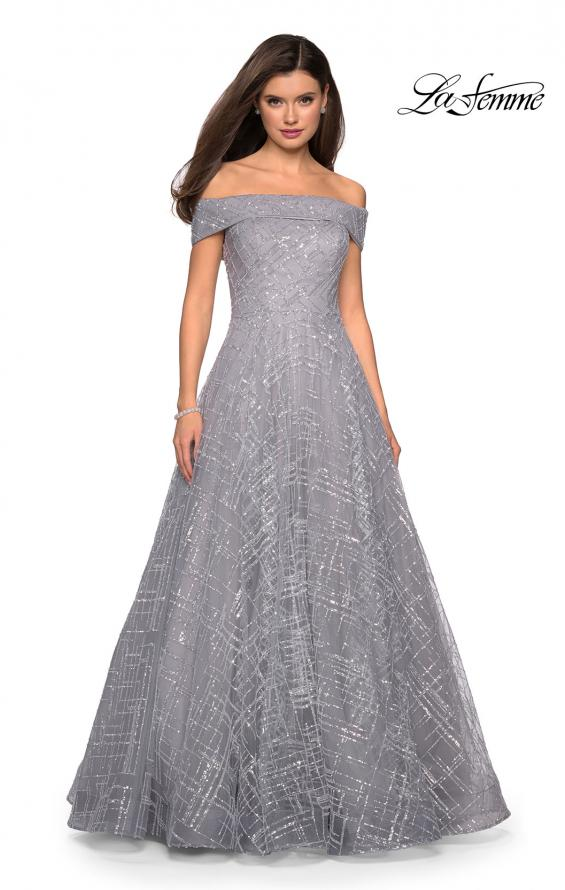 Picture of: sequin Ball Gown with Off the Shoulder Top in SIlver, Style: 27577, Detail Picture 2