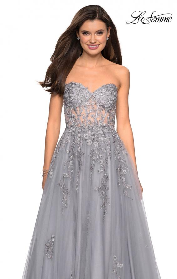 Picture of: Strapless Tulle Gown with Corset Bodice and Lace Detail in Silver, Style: 27592, Detail Picture 2