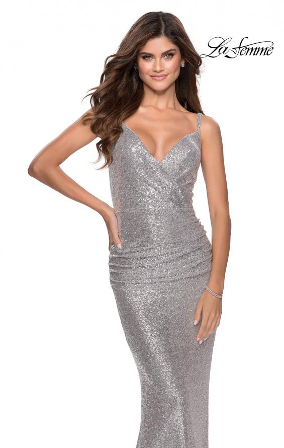 Picture of: Ruched Sequin Floor Length Prom Dress in Silver, Style: 28335, Detail Picture 2