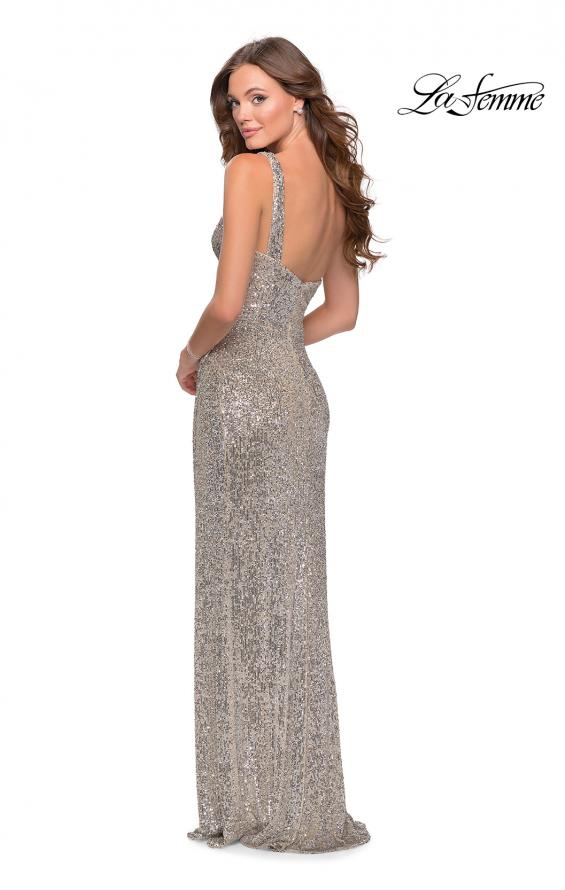 Picture of: Long Sequin One Shoulder Ruched Prom Dress in Silver, Style: 28401, Detail Picture 2