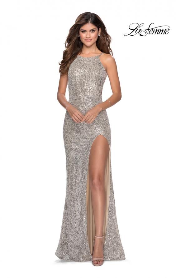Picture of: HIgh Neck Sequin Gown with Open Back and Slit in Silver, Style: 28529, Detail Picture 2