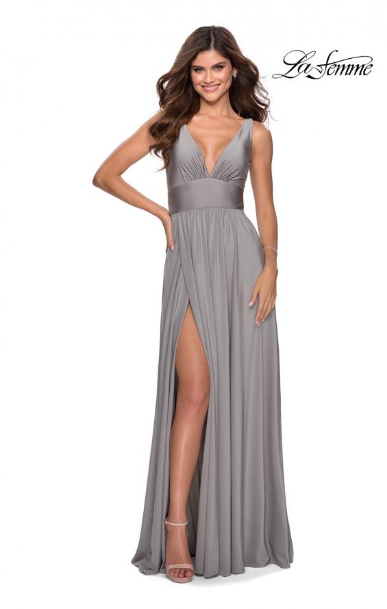 Picture of: Empire Waist Prom Gown with Deep V Neckline in Silver, Style: 28547, Detail Picture 2