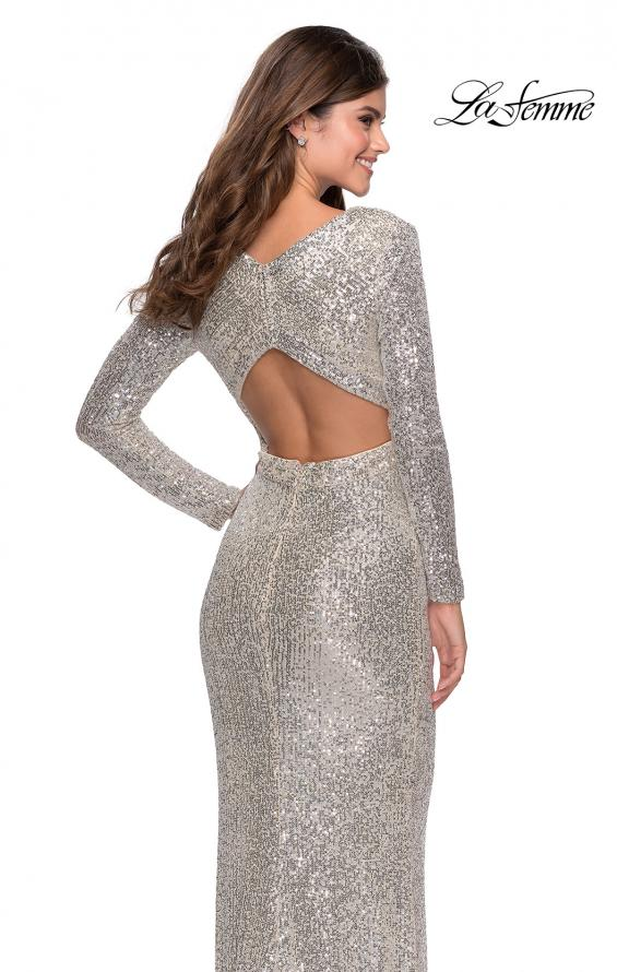 Picture of: Long Sleeve Sequin Gown with Open Back Detail in Silver, Style: 28743, Detail Picture 2