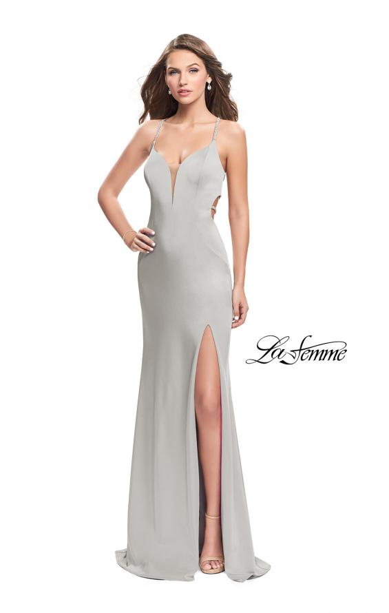 Picture of: Long Jersey Prom Dress with Plunging Neckline and Beading in Silver, Style: 25398, Detail Picture 3