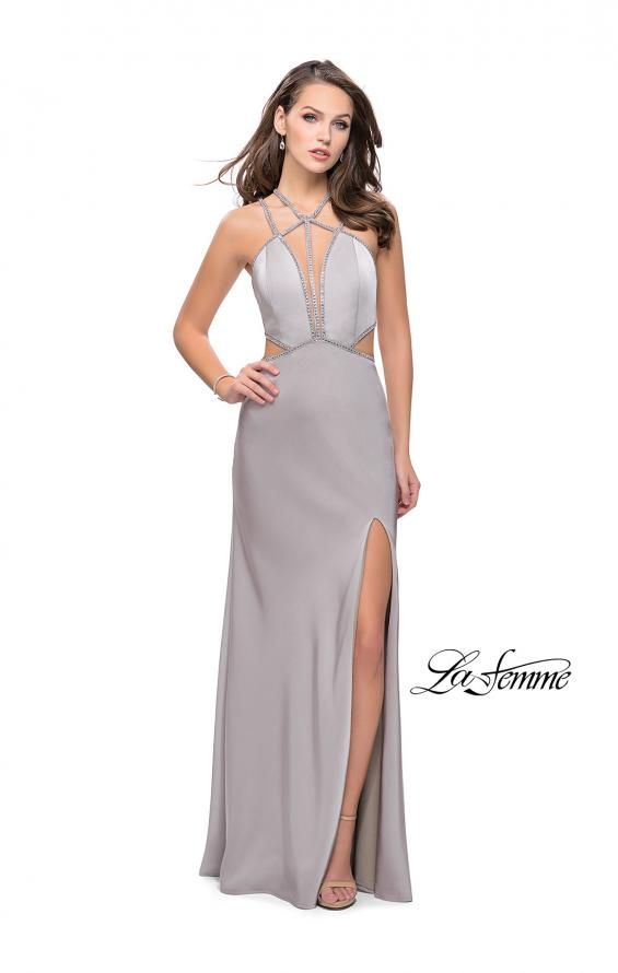 Picture of: Form Fitting Gown with Metallic Embellishments and Slit, Style: 25508, Detail Picture 3