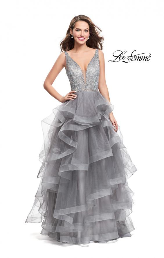 Picture of: Beaded Bodice Ball Gown with Tulle Skirt, Style: 26223, Detail Picture 3