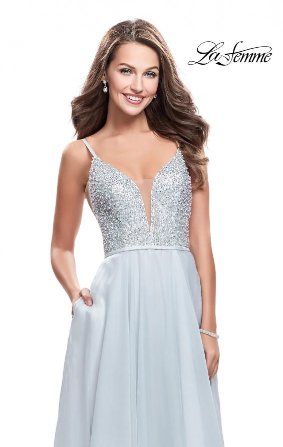 Picture of: A-line Chiffon Prom Gown with Pearl Beaded Bodice in Silver, Style: 26278, Detail Picture 3