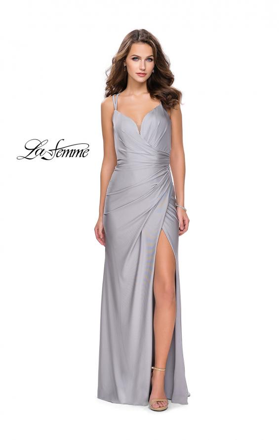 Picture of: Long Jersey Prom Dress with Ruching Side Wrap Detail, Style: 26317, Detail Picture 3