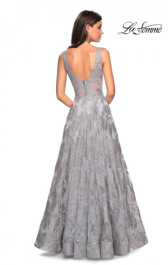 Picture of: Floral A Line Dress with Sheer Bodice and V Back in Silver, Style: 27505, Detail Picture 3