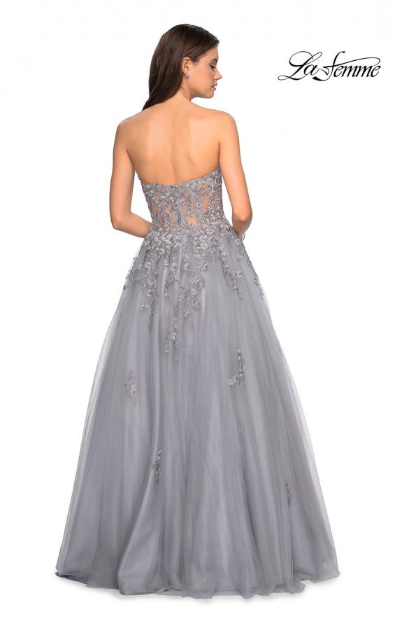 Picture of: Strapless Tulle Gown with Corset Bodice and Lace Detail in Silver, Style: 27592, Detail Picture 3