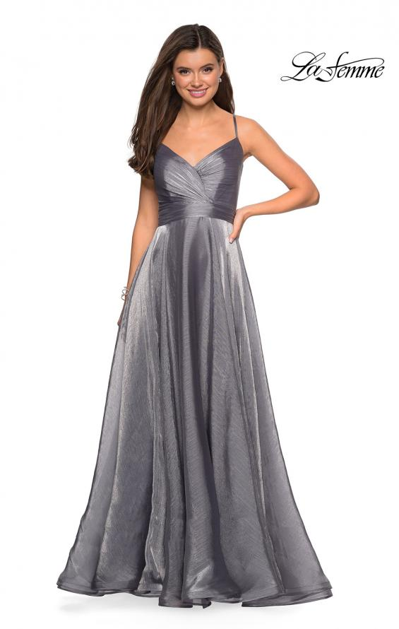Picture of: Long Metallic Chiffon Dress with Ruching and V Back in Silver, Style: 27616, Detail Picture 3