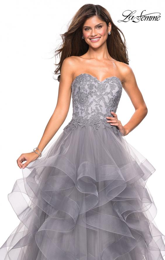 Picture of: Strapless Tulle Prom Gown with Lace Embellishments in Silver, Style: 27620, Detail Picture 3