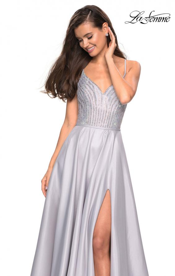 Picture of: Long Mikado Gown with Rhinestone Bodice and Slit in Silver, Style: 27634, Detail Picture 3