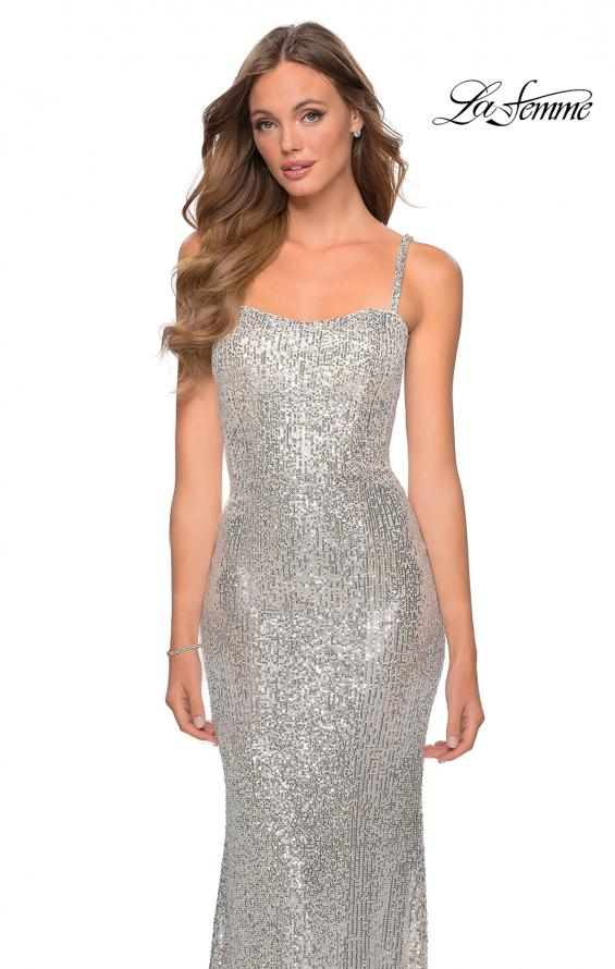 Picture of: Long Sequin Prom Dress with Straight Neckline in SIlver, Style: 28698, Detail Picture 3